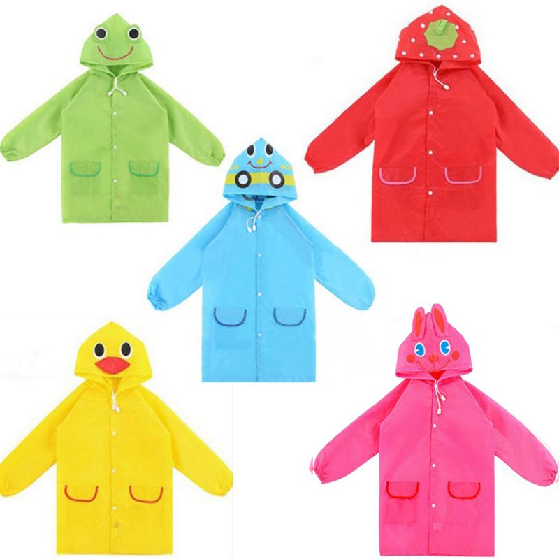 1stk Cartoon Animal Style Vandtæt Kids Raincoat For børn Rain Rain Rainwear Rainsuit Student Animal Style Raincoat