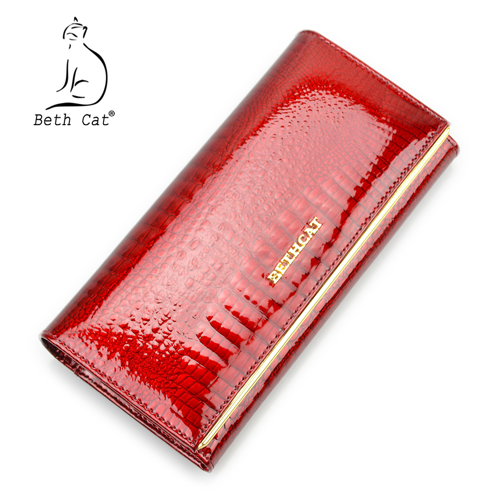 Beth Cat Women Genuine Leather Wallet Female Hasp Alligator Cowhide Long Wallet Cards Holder Clutch Bag Fashion Ladies Purses