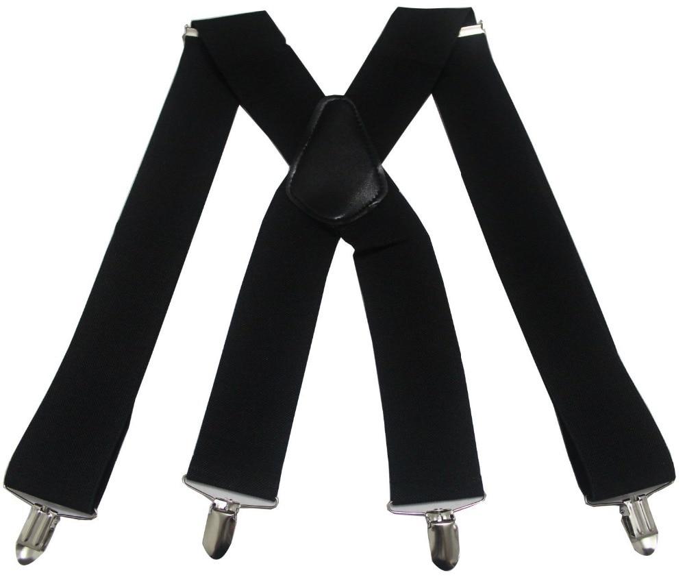 Mens Imitation Leather Suspenders X-Back Double Shoulders Braces Clip-On Belts