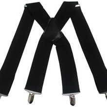 Winfox Vintage Black White 5cm Wide Men's Suspenders Men Braces 4 Clip Elastic Male Suspenders