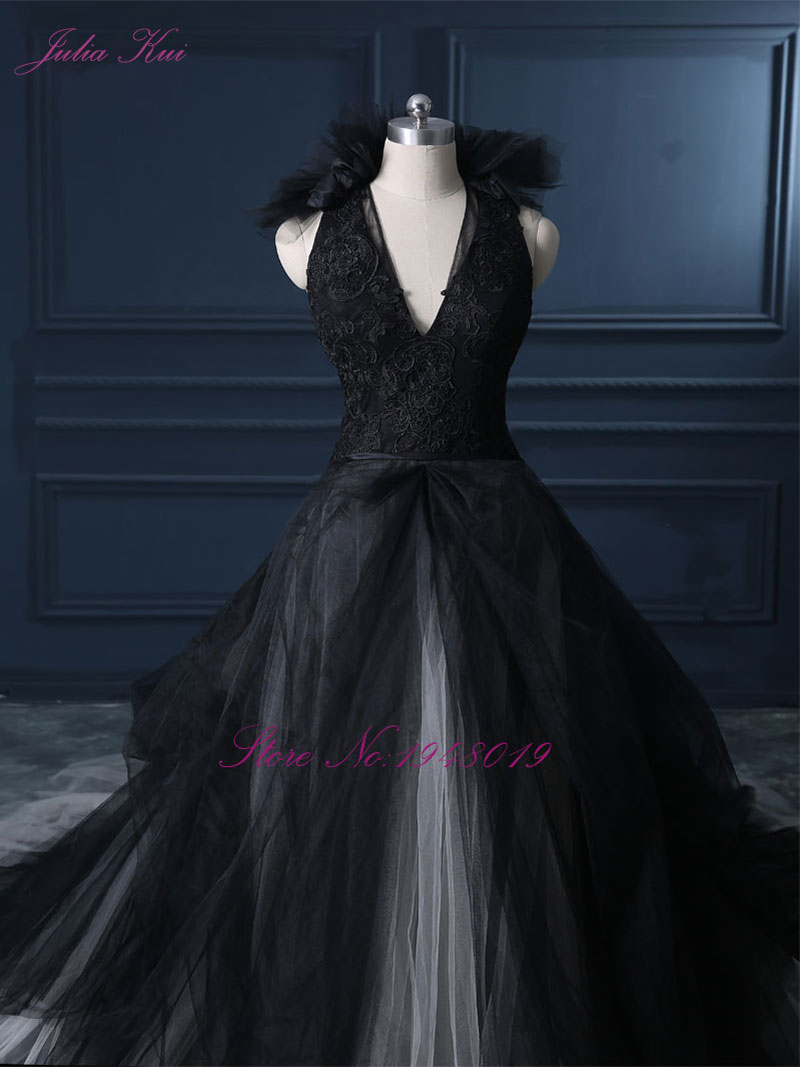 Image 4 - Julia Kui Halter A Line Black Wedding Dress 2019 Wedding Gown Count Train  Princess Vintage Bridal Dress-in Wedding Dresses from Weddings & Events