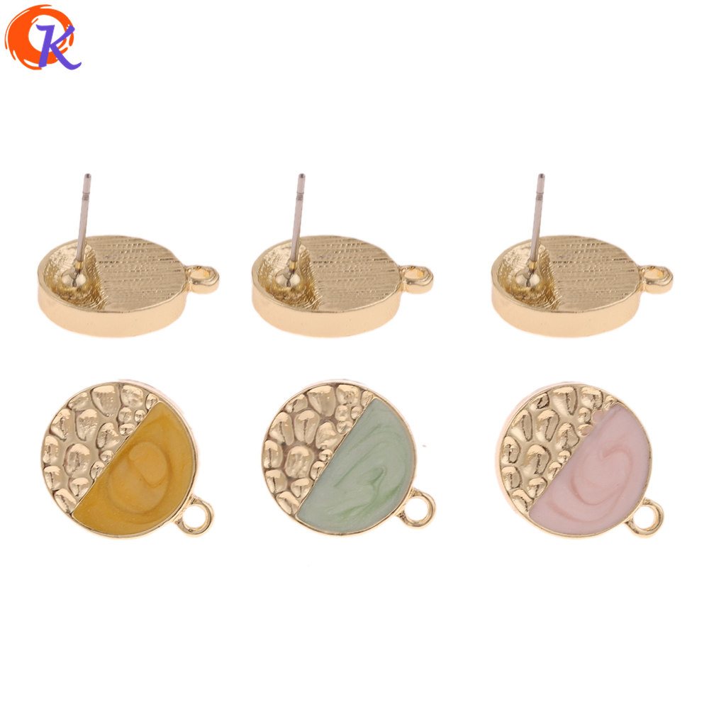 Cordial Design 50Pcs 14*17MM Jewelry Accessories/Earrings Stud/Round Shape/DIY Making/Hand Made/Jewelry Findings Components