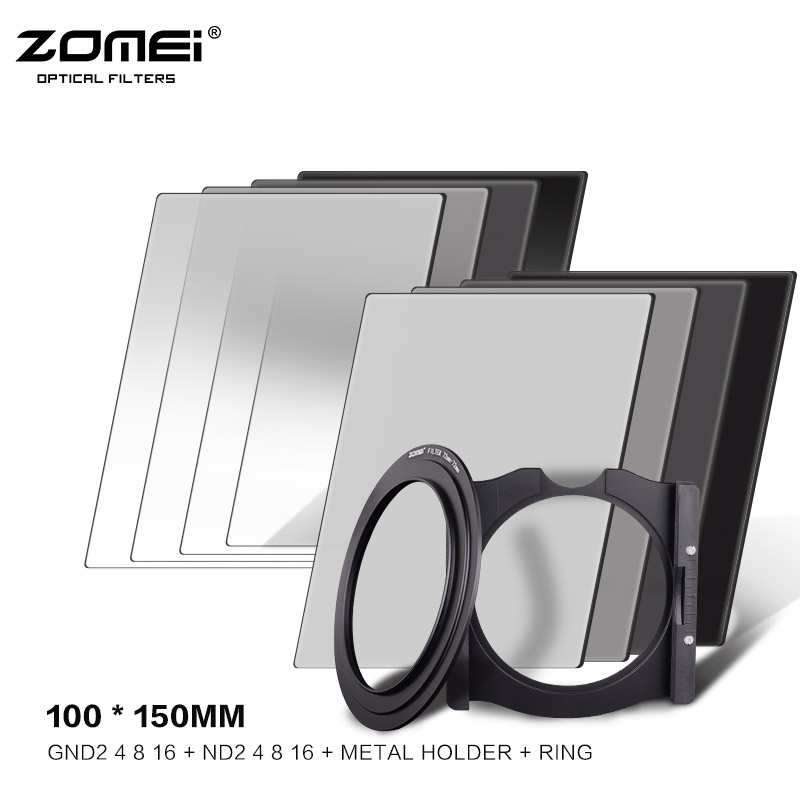 Zomei Square 100mm *150mm Neutral Density Filter Full Color Grey ND2 ND8 Gradient ND4 ND16 Set for Cokin Z square resin full color filter for dslr blue