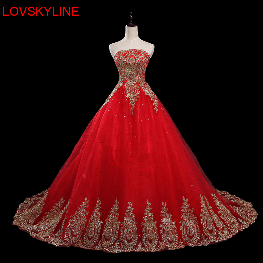 Tube top wedding dress formal dress red bride wedding dress slim plus size luxurious marry dress