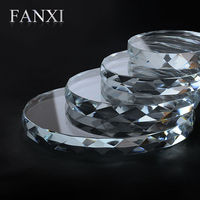 FANXI Free Shipping Custom Wholesale Jewellery Shop Counter Exhibitor Organizer High Transparency Crystal Jewelry Display Set
