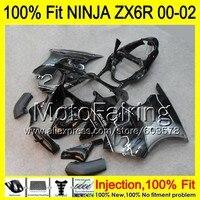 8Gifts Injection mold Body For KAWASAKI NINJA ZX 6R 00 02 INJ161 ZX 6R ZX6R 00 01 02 ZX636 636 2000 2001 2002 Fairing black