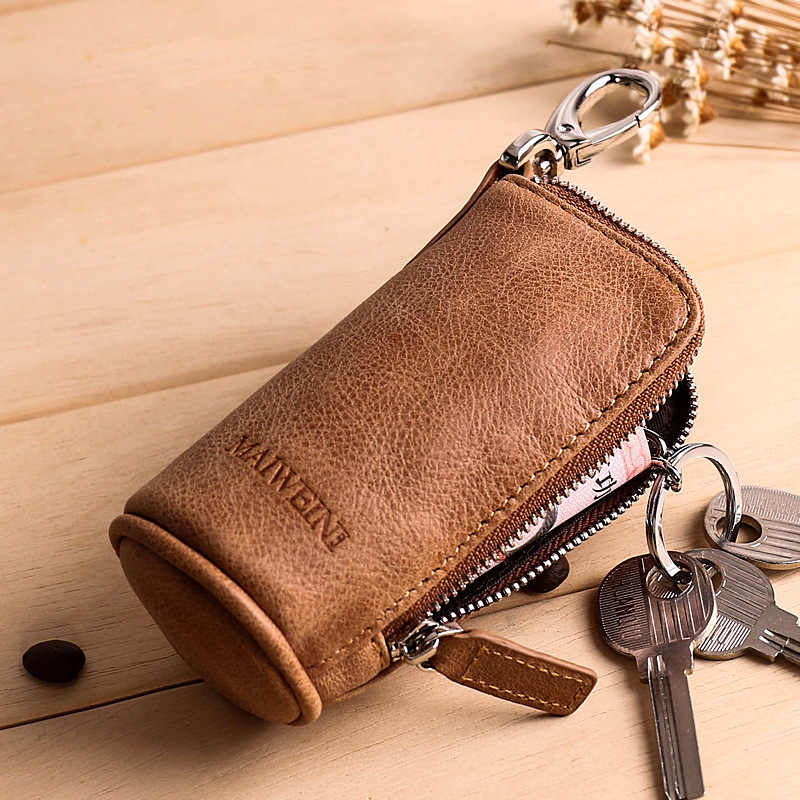 Брендовые мужские ключницы из натуральной кожи в стиле ретро, ключницы, Дамские кошельки из коровьей кожи на молнии