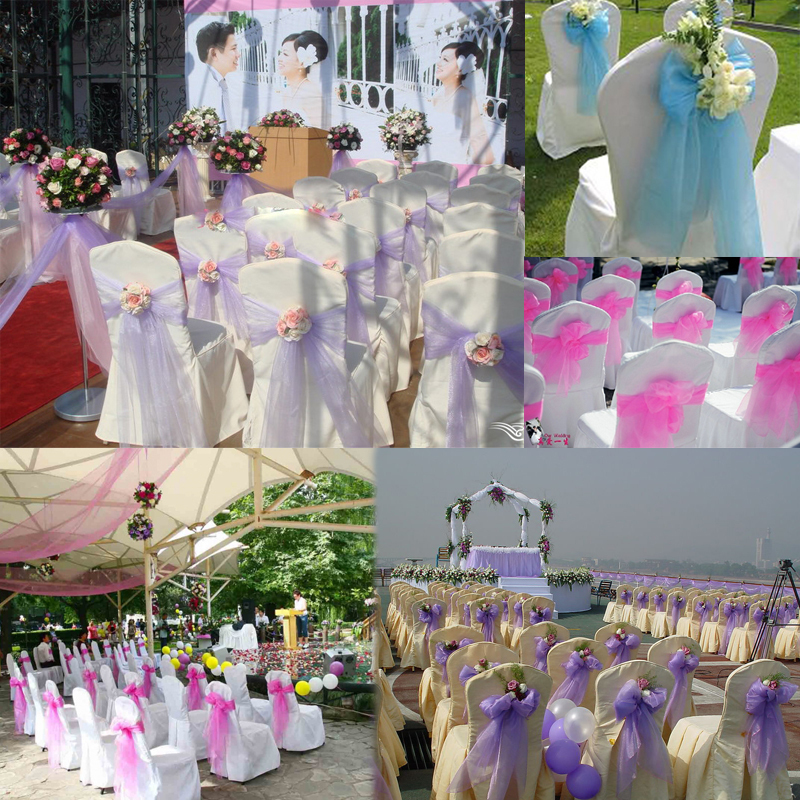 Fly Eagle 10PCS Organza Chair Sashes Bow Wedding Party Cover Banquet cover sashes 17 Orange in Sashes from Home Garden