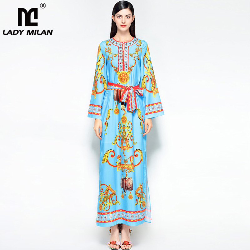 New Arrival 2018 Womens O Neck Long Sleeves Printed Beaded Sash Belt Fashion Casual Designer Runway Dresses