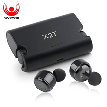 Buy online SWZYOR X2T Wireless TWS Mini Sport Earphone Bluetooth 4.2 Stereo Headset 1500mAH Charger Box for iphone and andriods