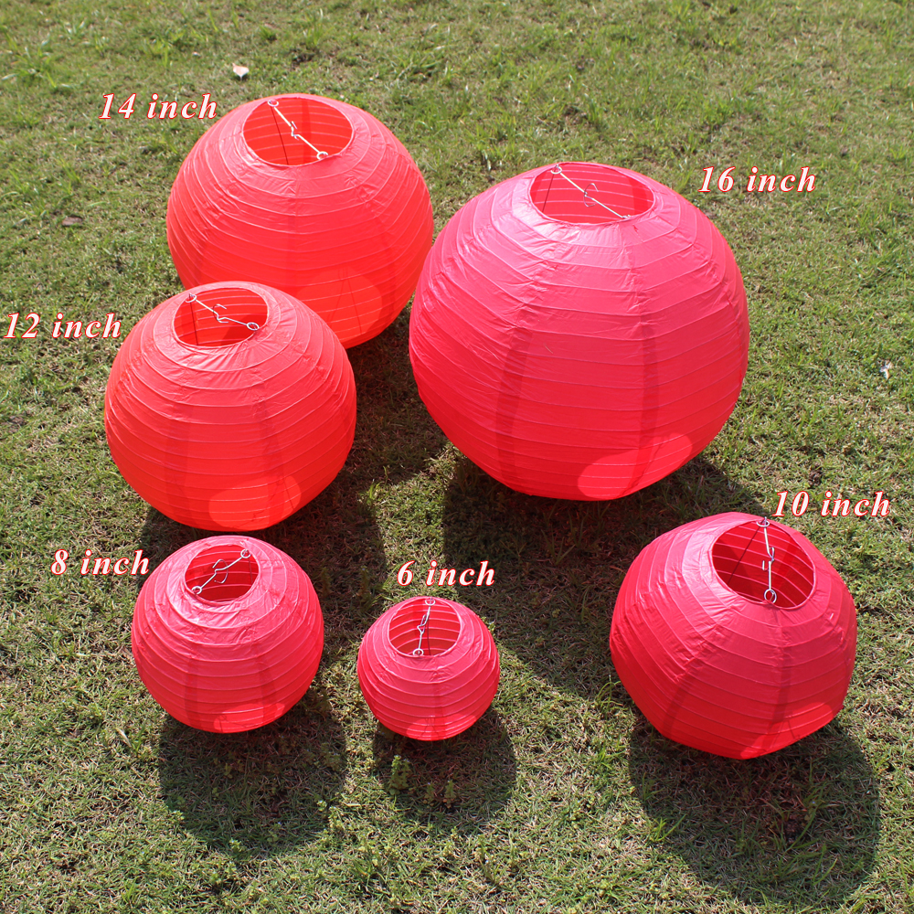 10pc 15-20-25-30-35-40cm 6-16inch Red Paper Lantern For Wedding Decoration Paper Ball LED Lampion For Party New Year Home Decor