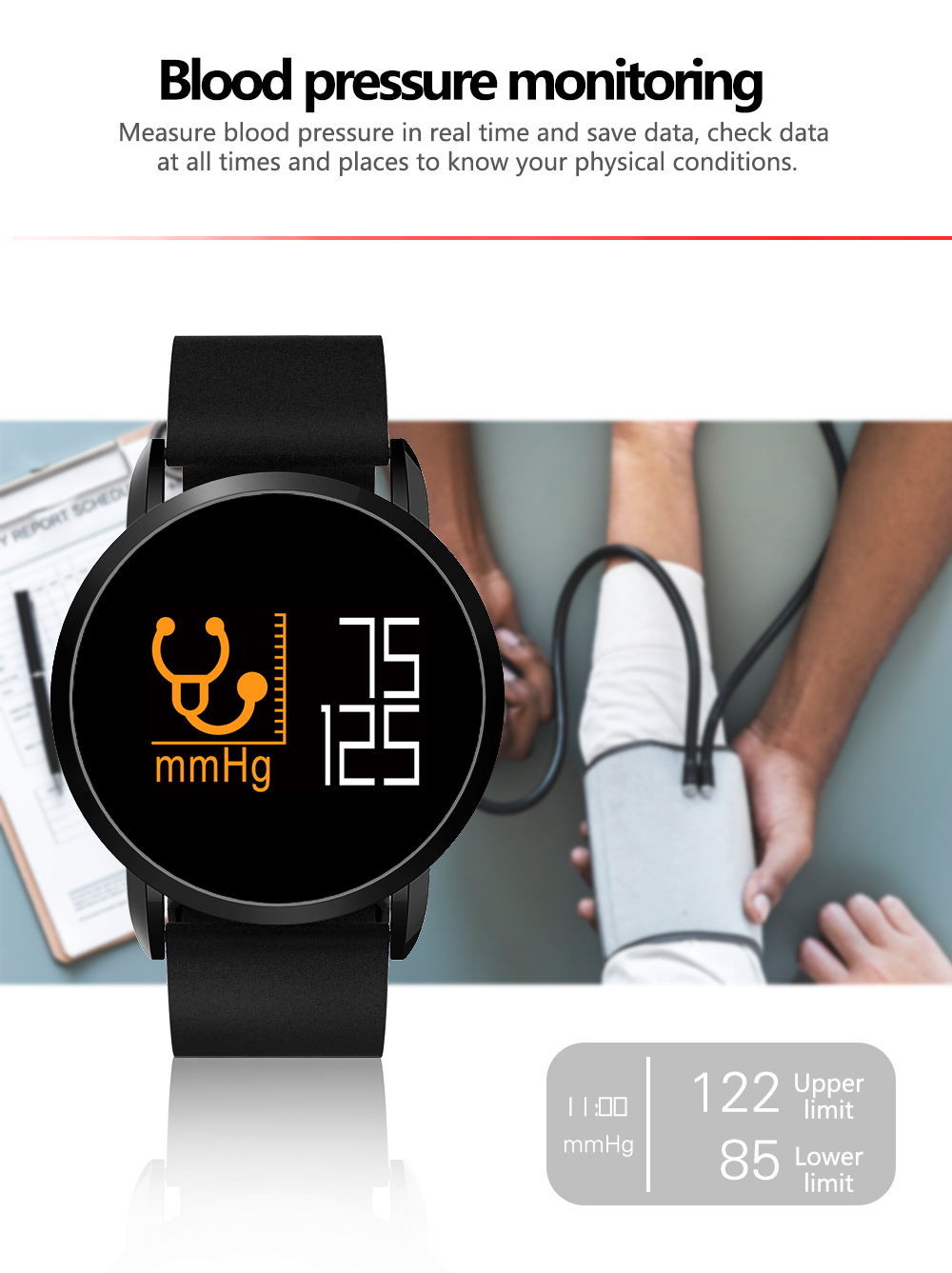 Abay F1 PRO 2018 Latest Smart Watch Brace Real-time Blood Pressure Oxygen Heart Rate Monitor Calorie Burning Android and IOS burning time