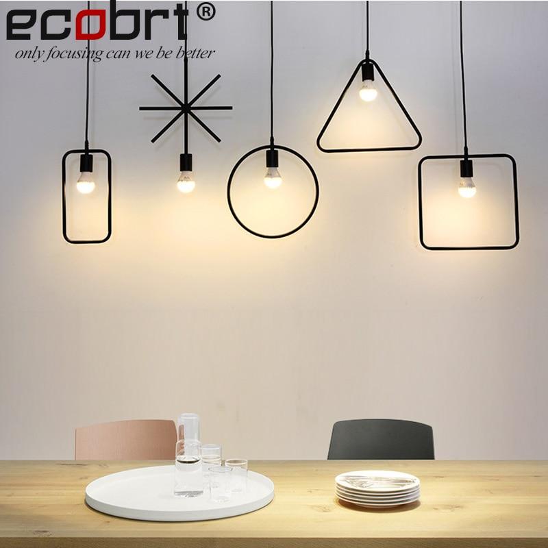 ECOBRT Vintage Loft Závěsná svítidla Svítidla Moderní Průmyslová žehlička pro osvětlení svítidel v obývacím pokoji Černá barva