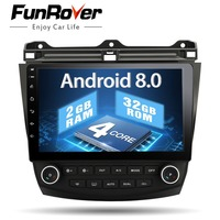 Funrover 10.1 Android 8.0 car dvd gps player for Honda Accord 7 2003 2007 with car radio video player gps navigation stereo 2G