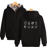 LUCKYFRIDAYF K Pop Thicker Hoodie Sweatshirt Zipper BTS Bangtan Boys Cartoon Fashion Thicker Sweatshirt Winter Warm
