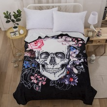 skull wolf black fleece blankets winter thick warm big blanket super soft  carpet on the bed 46d69e02d