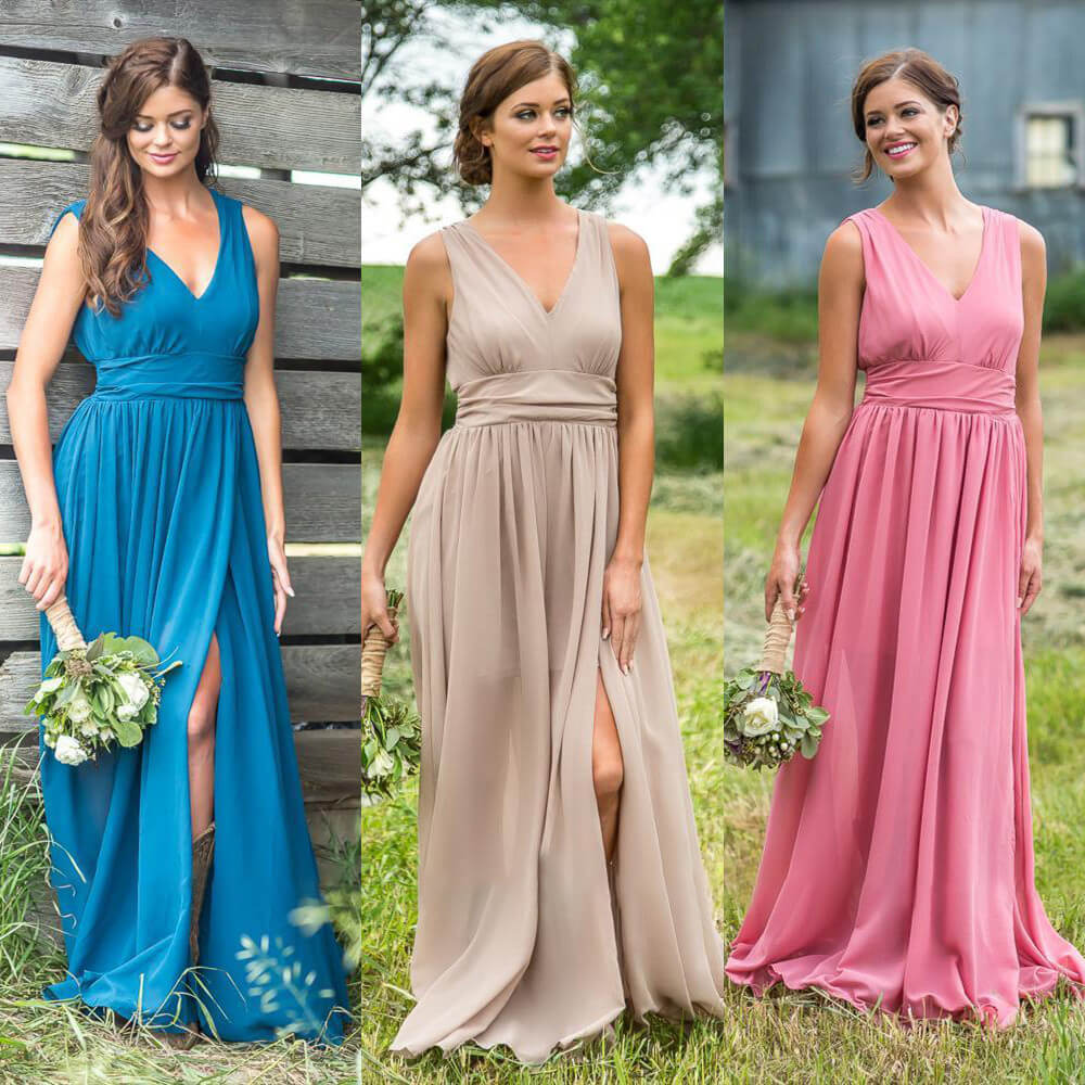 Sexy Open Back Side Slit Chiffon Wedding   Bridesmaid     Dress   Charming Pink V-Neck Draped Long   Dresses   for Wedding Party