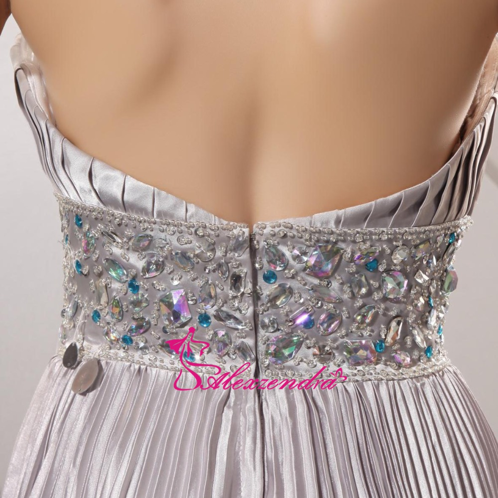 Alexzendra Silver Beaded Crystal Long A Line Prom Dresses Evening Gown Natural Waist Floor Length Special Party Gowns