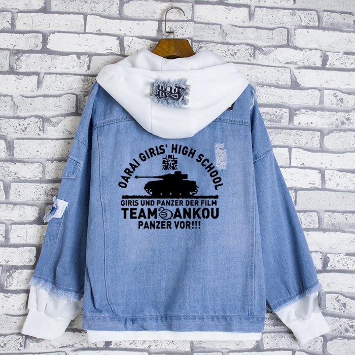 Fashion Jeans Coat Anime GIRLS und PANZER Cosplay Casual Jacket Spring Autumn Hooded Sweatshirt Unisex Student Denim Outwear