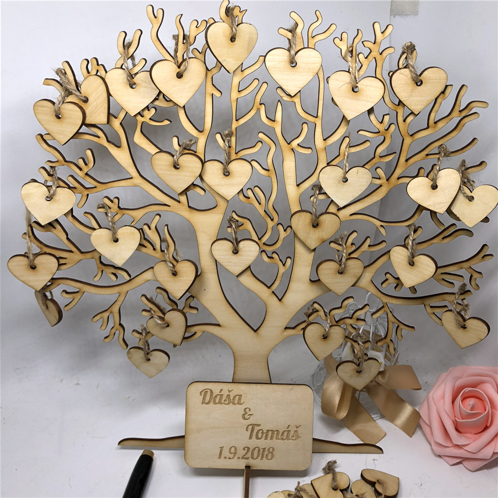 Hot Sale Family Tree Wedding Guest Book, 3D Wooden Guest Sign Book ...