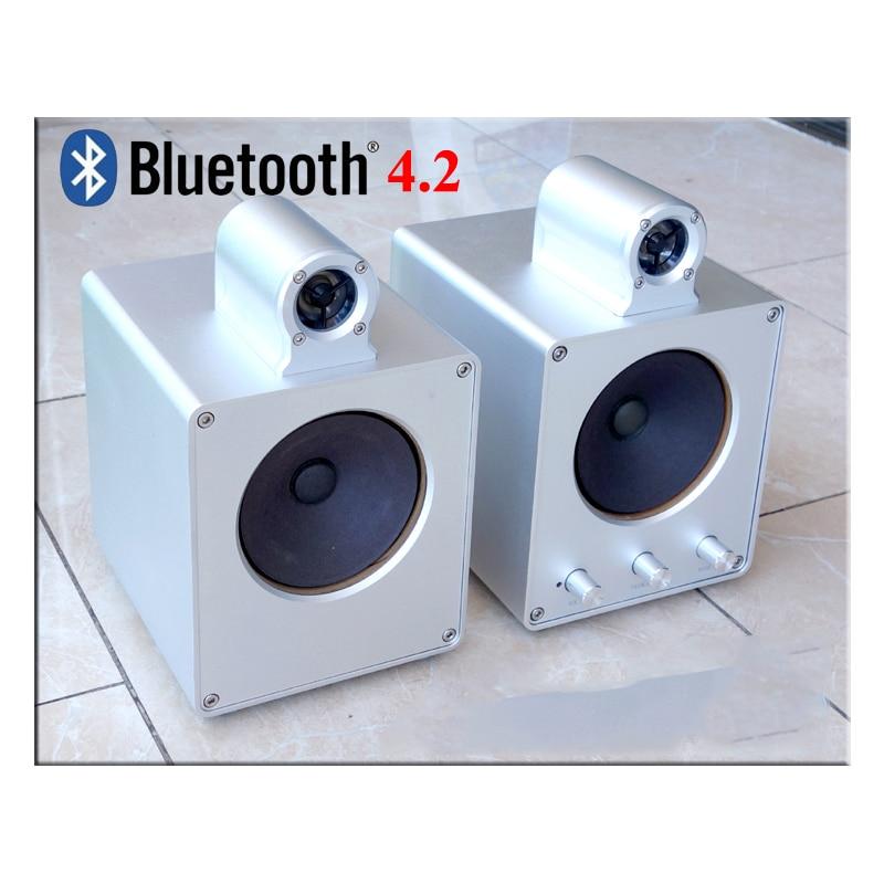 A501 4 inch aluminum bookshelf speaker Amplifier active speaker Bluetooth 4.2 Japanese speaker unit h 019 fountek fr88ex full range 3 inch hifi speaker amplifier speaker hot sale 84 3db 1w 1m