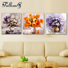 FULLCANG diy 5d diamond embroidery graffiti flower triptych painting 3 piece full square/round drill mosaic pattern decor FC647