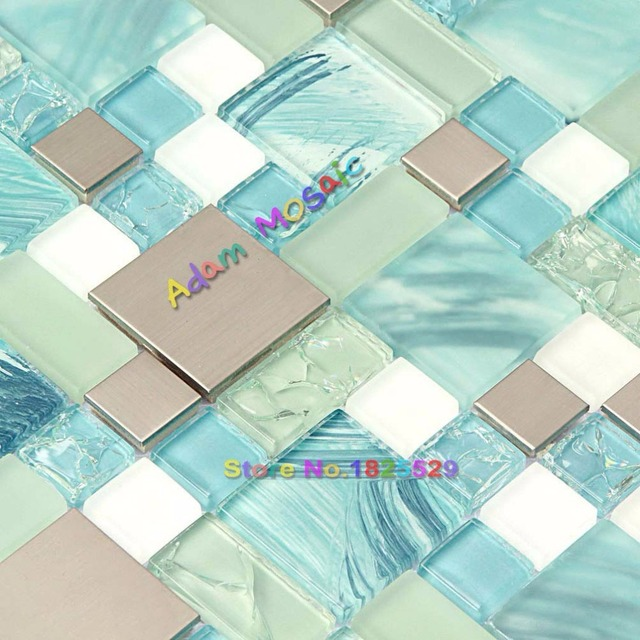 Handgemalte Ocean Blue Glas Fliesen Silber Küche Mosaik Backsplash  Edelstahl Fliesen Knistern Chips Aqua Glas Weiß
