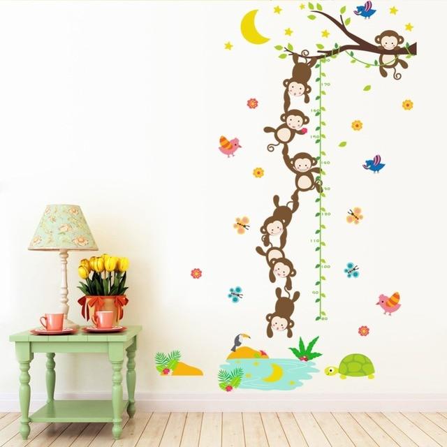 diy Cartoon animal Monkeys Height Measure Wall Stickers For Kids Rooms  Birds Flower butterfly Height chart Nursery Home Decor 3887a30d5816