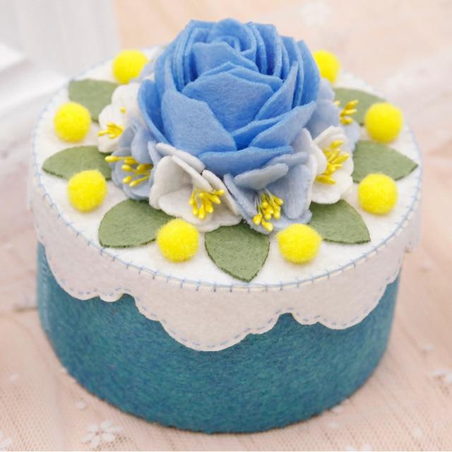 Diy Blue Small Storage Box Handmade Cake Design Cosmetic Case For