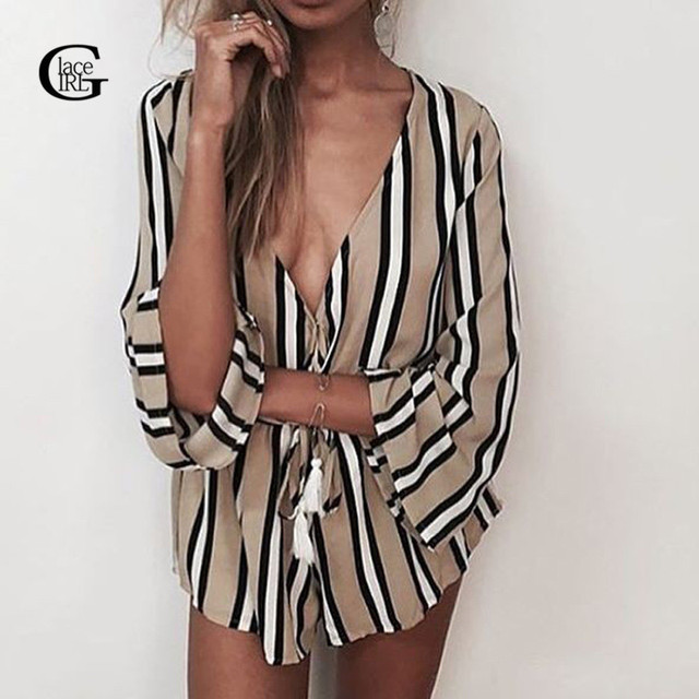 Lace Girl Summer 2017 Women Jumpsuit Striped Deep V Neck Sexy Rompers Playsuit Overalls Loose Elastic Waist macacao Plus Size