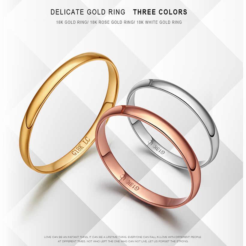 18 k Золотое кольцо для влюбленных горячее гладкое элегантное предложение получил обручальное свадебное Вечерние классические унисекс для мужчин, женщин, девочек новый заказ