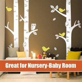 4 размера большой березовый дерево настенные наклейки Сова Птица сказал питомник проект Детские Виниловые обои для дома