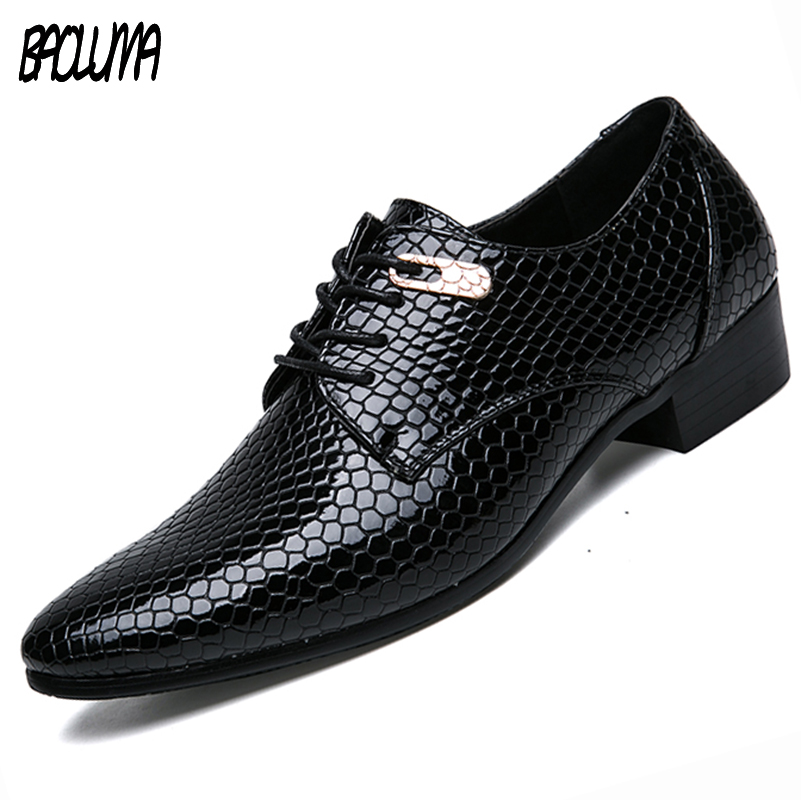Mens Pointy Shoes Breathable Men Formal Shoes Pointed Toe Patent Leather Oxford Shoes Large Sizes Men Dress Shoes Business choudory summer dress crocodile skin shoes men breathable prom shoes full grain leather pointy mens formal shoes shoe lasts
