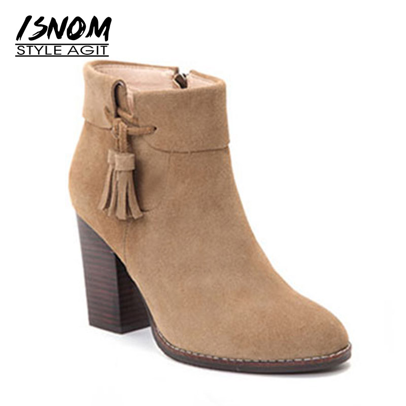 ISNOM 2018 New Cow หนังนิ่มรองเท้าผู้หญิงพู่ไม้รองเท้าส้นสูง Bootie ฤดูใบไม้ร่วงรอบ Toe รองเท้าผู้หญิงซิปฤดูหนาวรองเท้า-ใน รองเท้าบูทหุ้มข้อ จาก รองเท้า บน   1