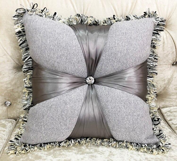 NEW Europe Linen Square Pillow Cushion Velvet Add Filling Tassel Handmade Home Car Bed Sofa Living Room Dec Wholesale  FG1133