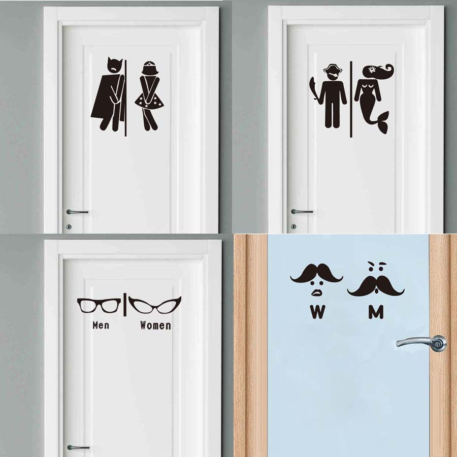 Decal Toilet Sign Wall Stickers Waterproof Hotel For Bathroom 1PC Door Stickers