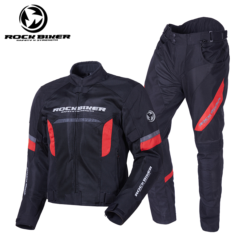 ROCKBIKER Motorcycle Jackets And Pants Windproof  Breathable Motocross Jersey Men's Motorbike Knee Protection Summer Racing Suit-in Combinations from Automobiles & Motorcycles    1