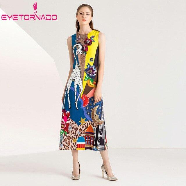 Women Summer Sundress Sequined Giraffe Print Long Casual Office Boho Dress Sleeveless Beadings Elegant Vintage Boho Dress