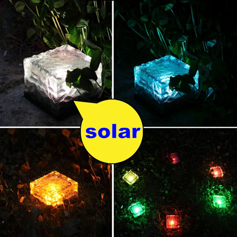 4pcs Outdoor Solar Light LED Ground Crystal Glass Brick Shape Waterproof Solar  Lamp Garden Decoration Underground RGB Lights In Solar Lamps From Lights ...