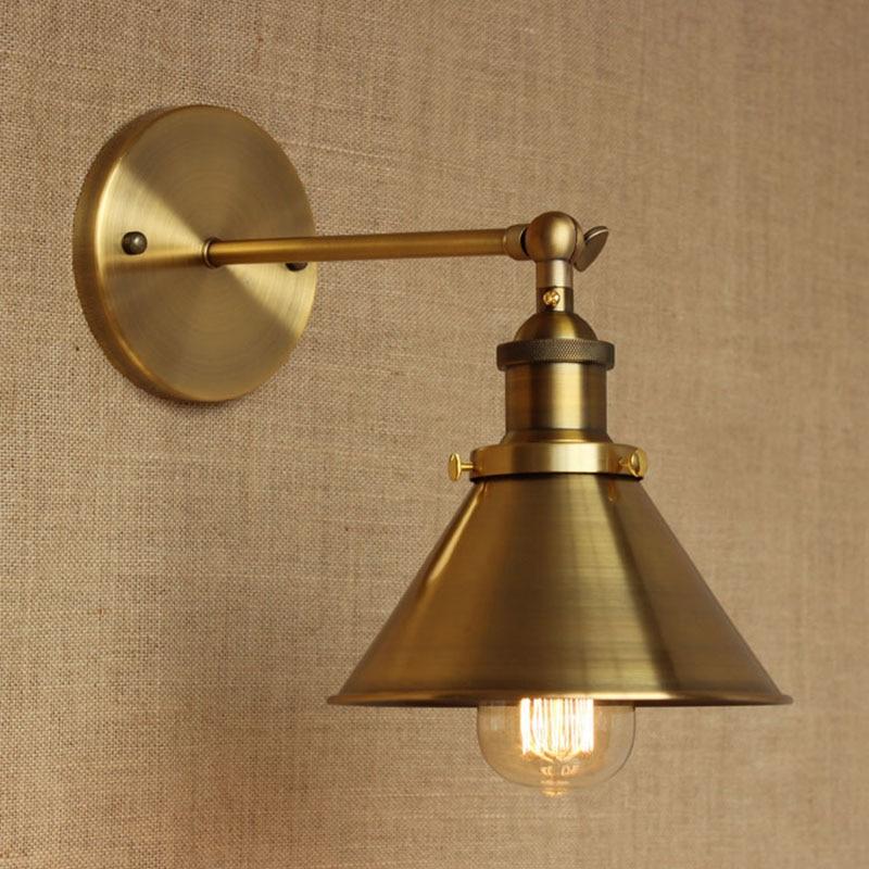 Lámpara de pared moderna del metal del metal del bronce de LOFT para el cuarto de baño del estudio del cuarto de baño del bar vestíbulo Vanity Lights E27 110-220V