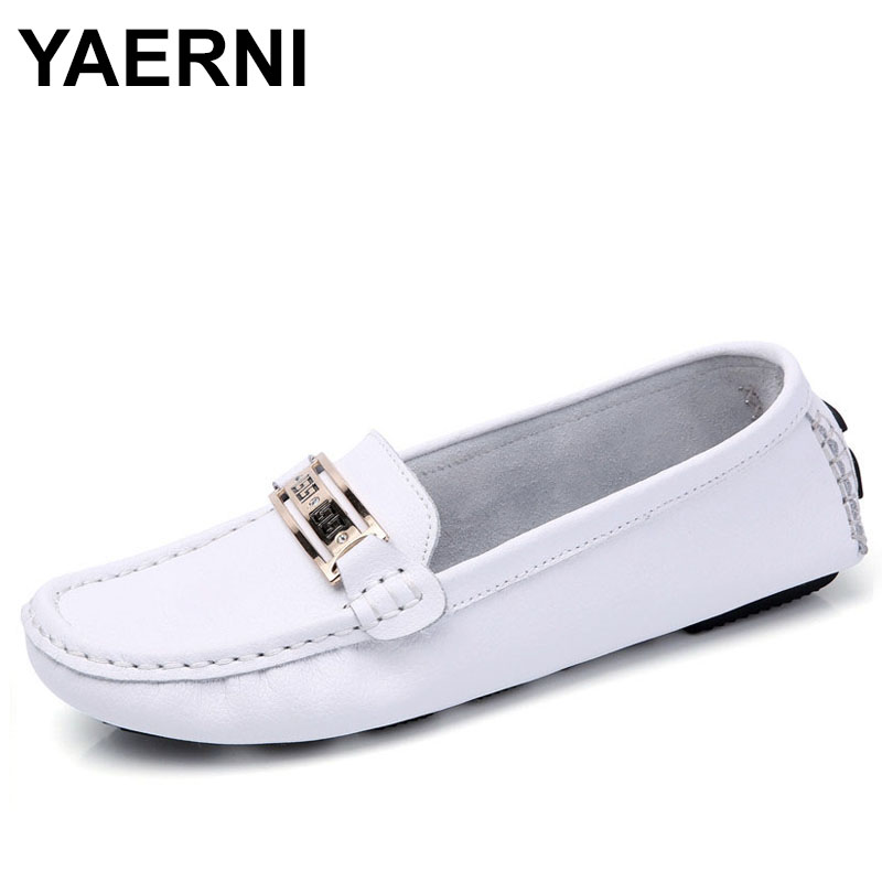 YAERNI Shoes Woman 2018 Genuine Leather Women Shoes Flats 6 colors Loafers Slip On Womens Flat Shoes Moccasins
