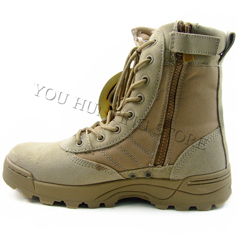 2017 High Quality Men's Outdoor Boots Desert Army Military Tactical Boots Combat With Zipper Hiking Boots Black Tan combat boots desert tan lug sole military boots page 4