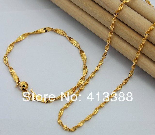 Not Fade Fashion 2018 Top Quality 2mm Width Singapore Twisted Chain Bracelet & Necklace 24K Gold Cover Kids Jewelry Sets Women