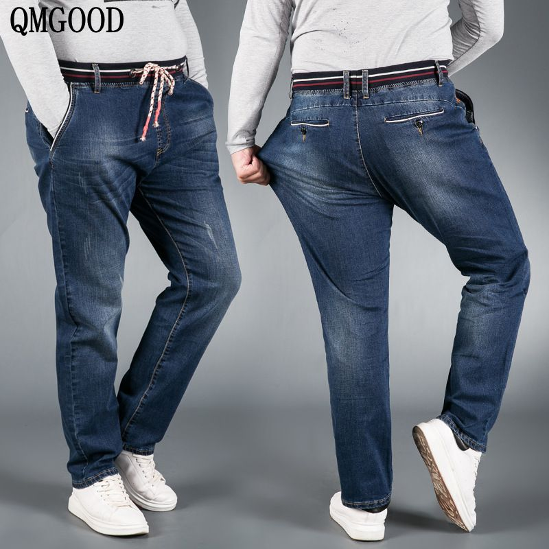 QMGOOD Plus Size 6XL 5XL 4XL Men's Big and Tall Jeans Pants Denim Mens Loose Fit Jeans Stretch Jeans Men Washed Baggy Big Size moruancle men s baggy cargo jeans pants loose straight tactical denim trousers for big and tall size 29 46 side zipper pockets