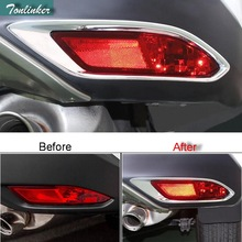 Tonlinker Exterior Rear Fog light Cover Case Stickers for HONDA VEZEL HRV 2014-16 Car Styling 2 PCS ABS Chrome Cover sticker 2 pcs diy three style engineering plastics and aluminum welcome pedal cover case stickers for honda vezel hrv parts accessories