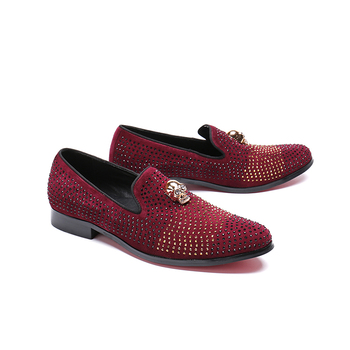 Men's Rivet skull pattern Flat Casual Shoes fashion slip-on genuine leather red Comfortable wedding shoes men size 38-46