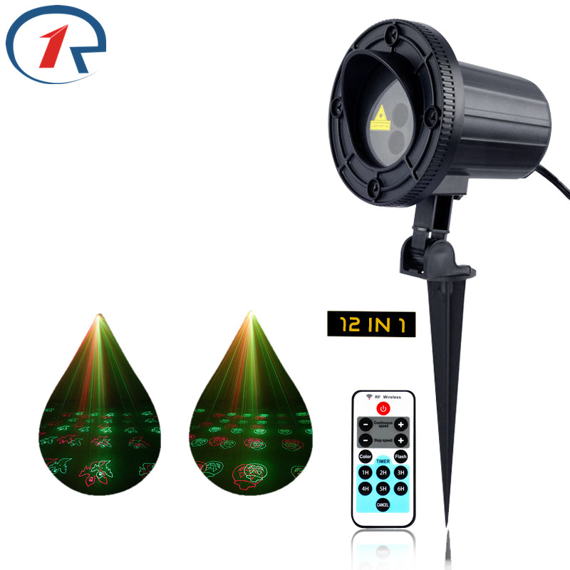 ZjRight Laser stage light effect IR Remote Red Green 12 pattern Xmas tree decor Outdoor projection KTV bar dj disco party lights
