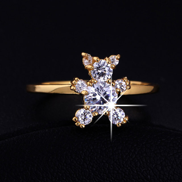 line Shop Bing Tu Gold Color Bear Cubic Zirconia Party Ring