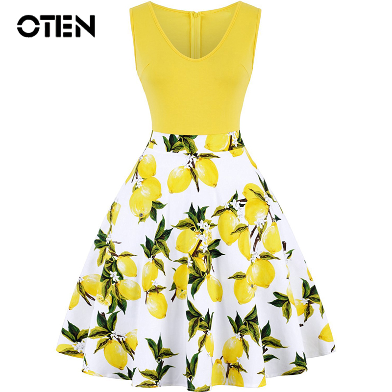 OTEN Women Sleeveless Summer Lemon Flower Printed V Neck contrast color A Line Casual Party lady dresses midi plus size feminino