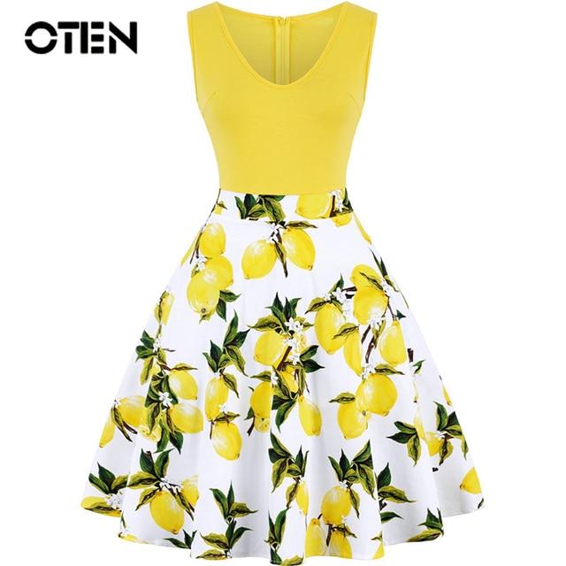 e509e4794f OTEN Women Sleeveless Summer Lemon Flower Printed V Neck contrast color A  Line Casual Party lady